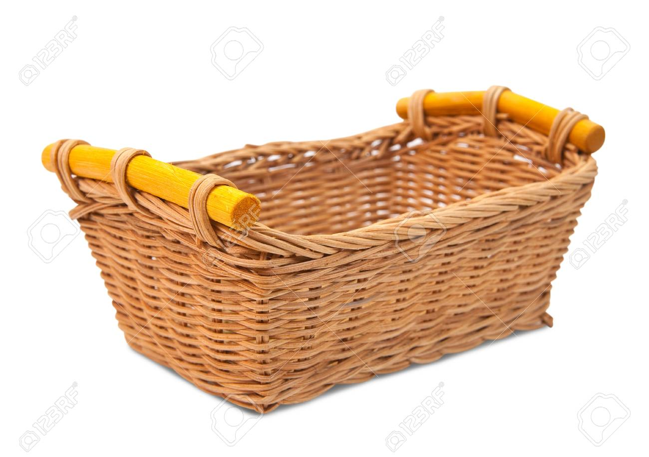 Empty wicker basket. Isolated over white Stock Photo - 8888335