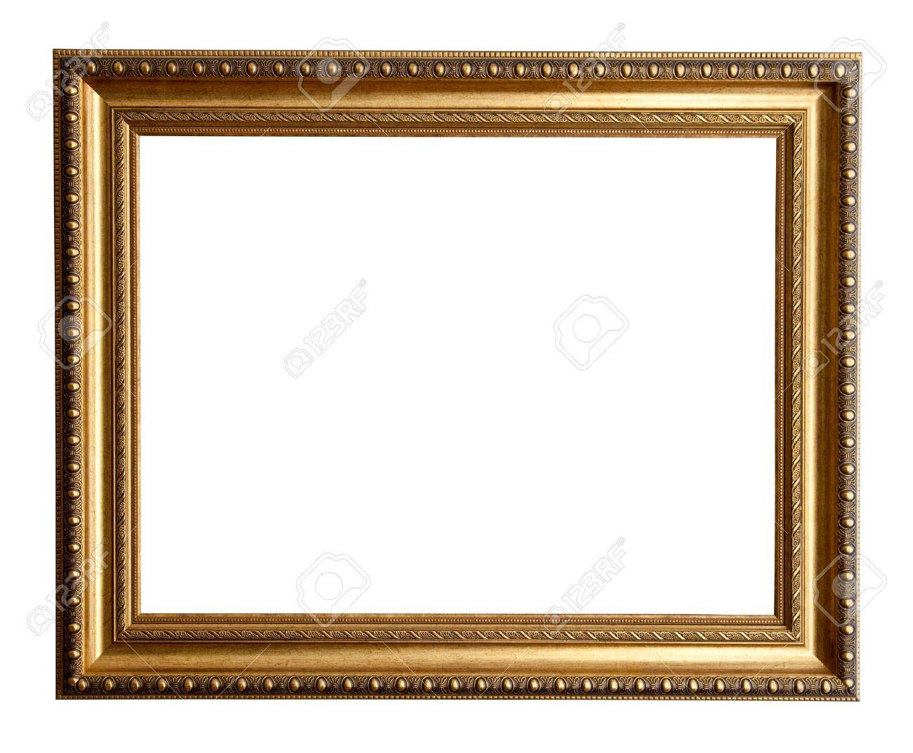 luxury gilded frame isolated over white background stock photo 9060964