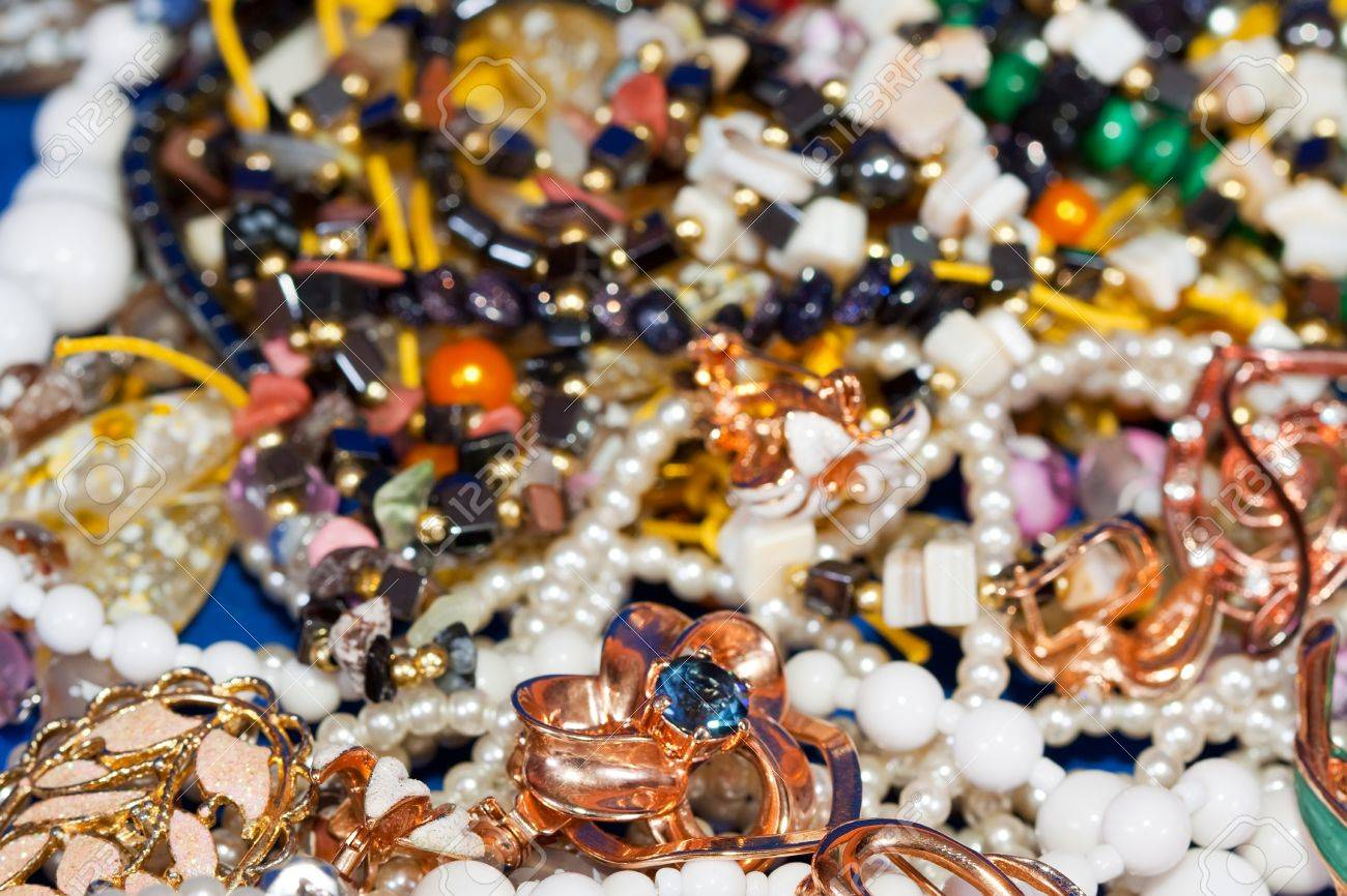 Close up of many differently jewellery background Stock Photo - 9339064