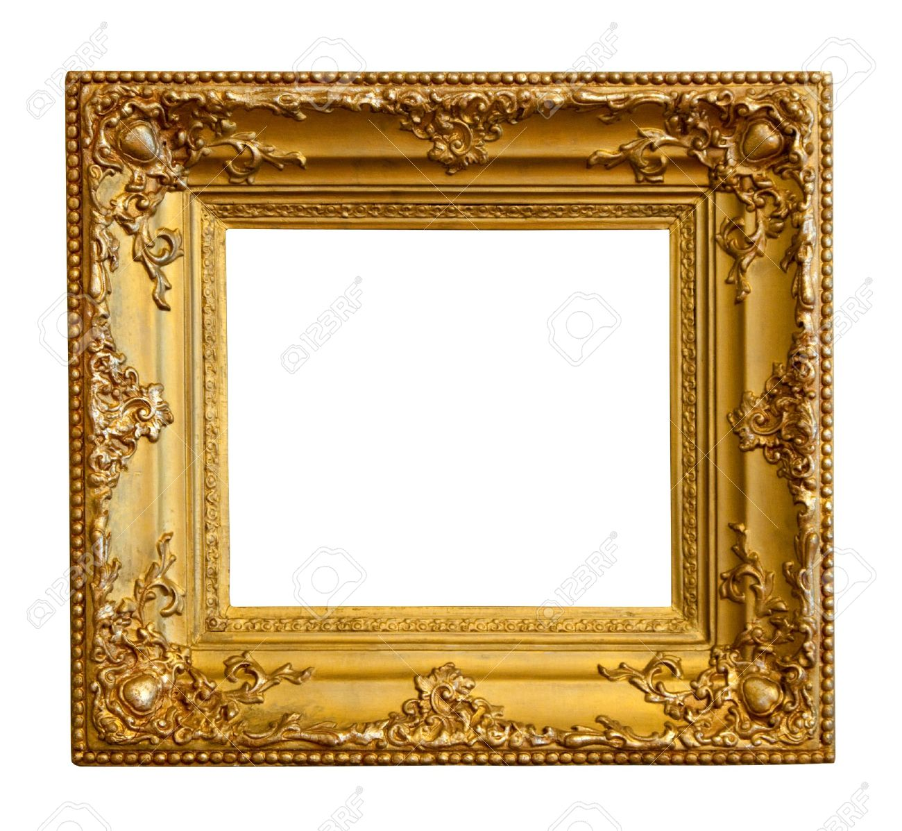 luxury gilded frame isolated over white background with clipping path stock photo 9359920