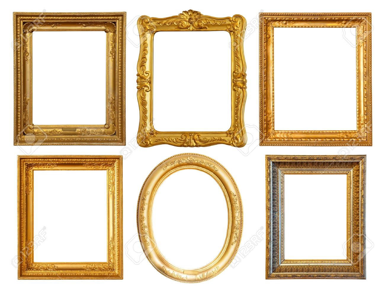 set of few luxury gilded frames stock photo 9409560
