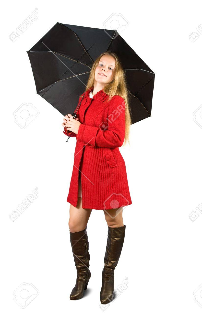 Woman In Red Coat And Brown Boots With Black Umbrella Stock Photo ...
