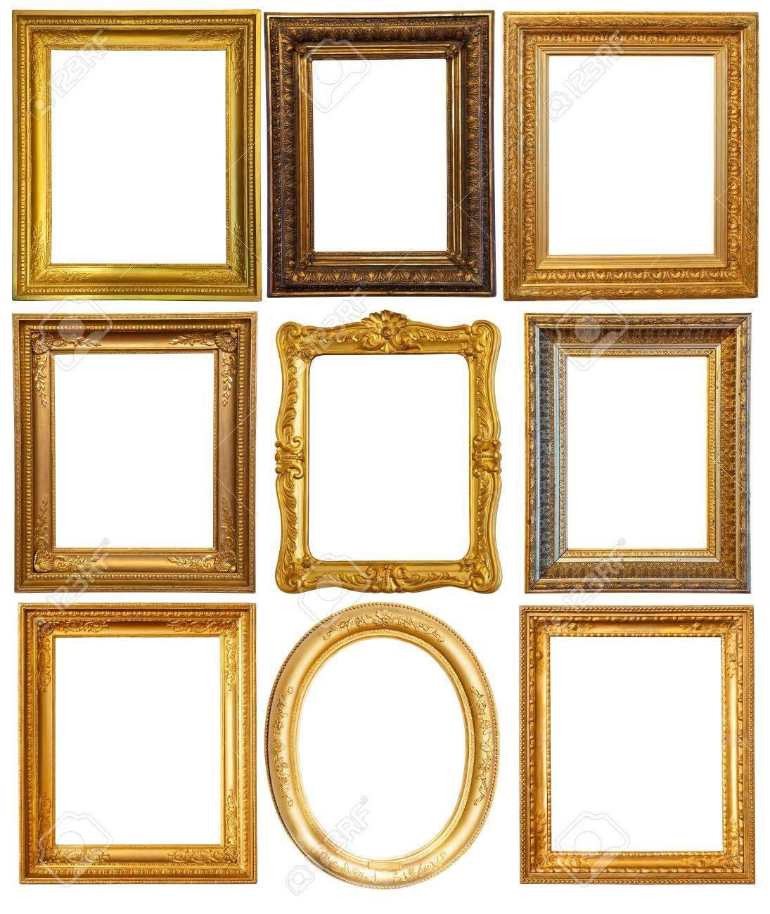 Set Of Few Luxury Gilded Frames. Isolated Over White Background ...