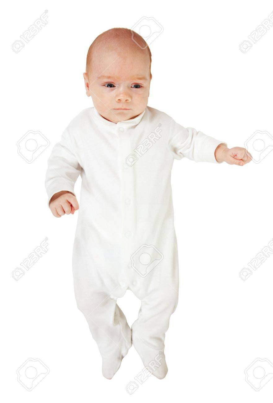 98f157cd7d2b 1 Month Baby In White Onesie Over White Background Stock Photo ...