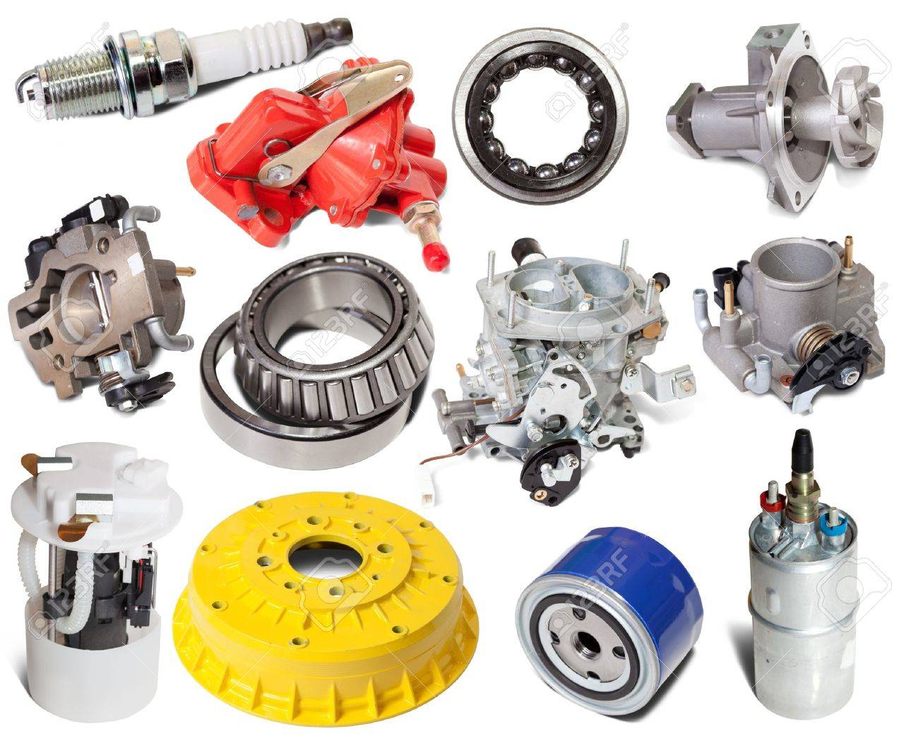 Set of auto parts. Isolated on white background Stock Photo - 9854540
