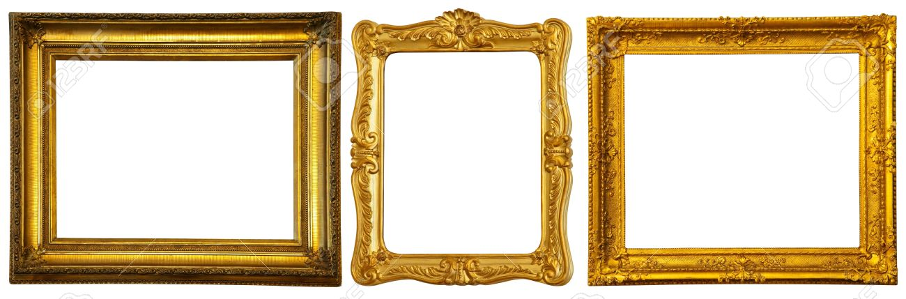 Set Of Few Gold Frames Isolated Over White Background With Clipping