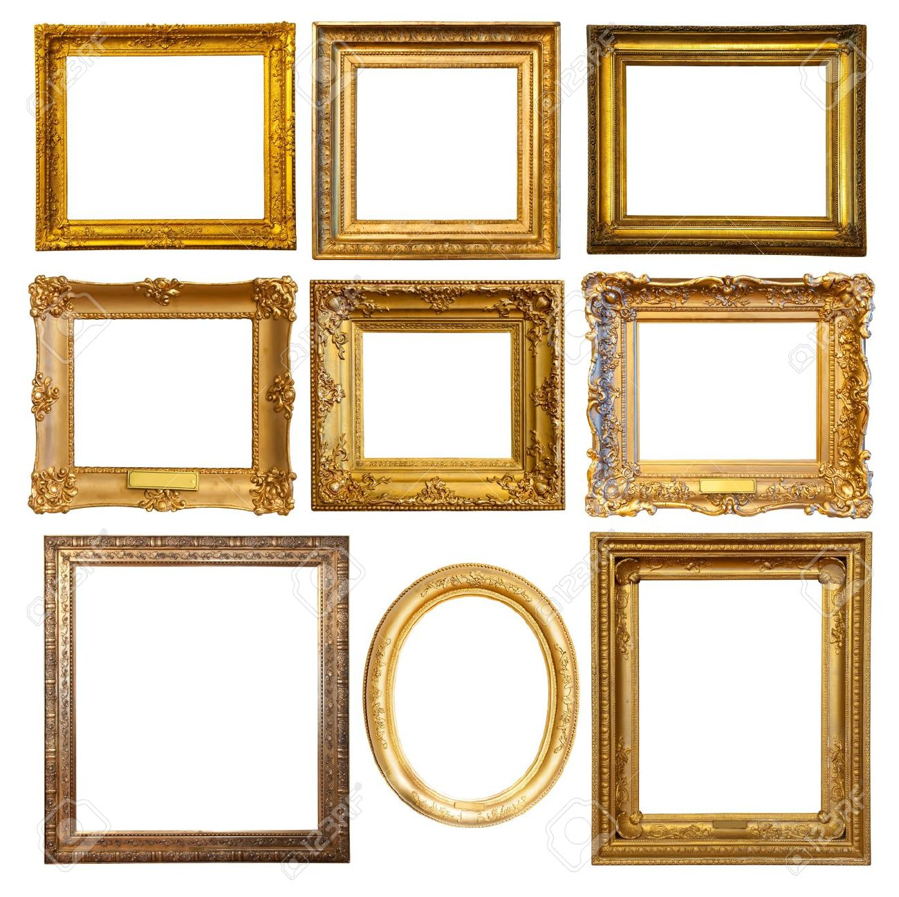 Multiple empty picture frames outstanding wall decor frames ideas multiple empty picture frames set of few luxury golden frames isolated over white background jeuxipadfo Images