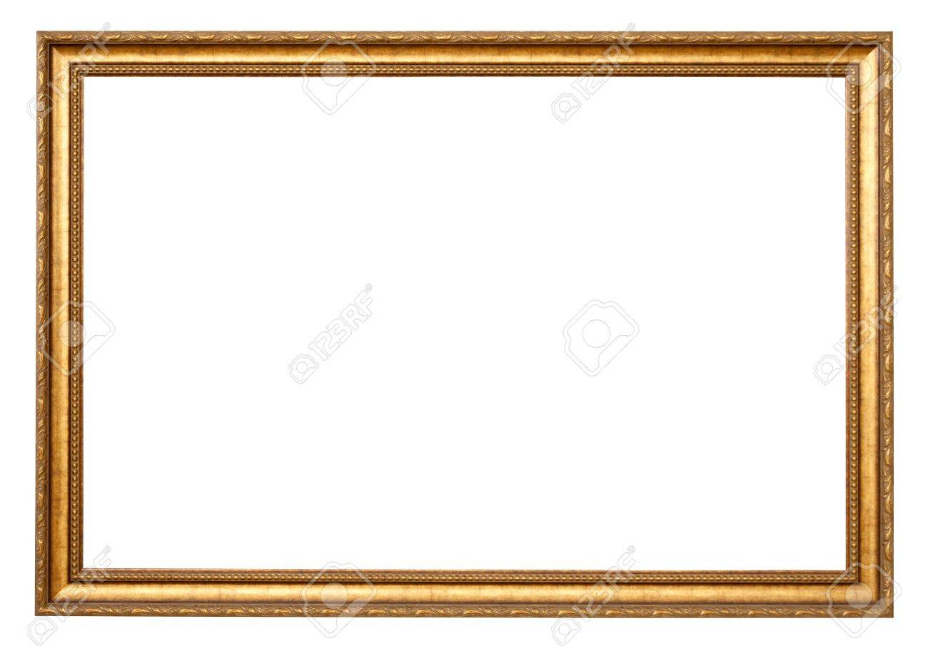 Classic Gold Frame Isolated Over White Background Stock Photo