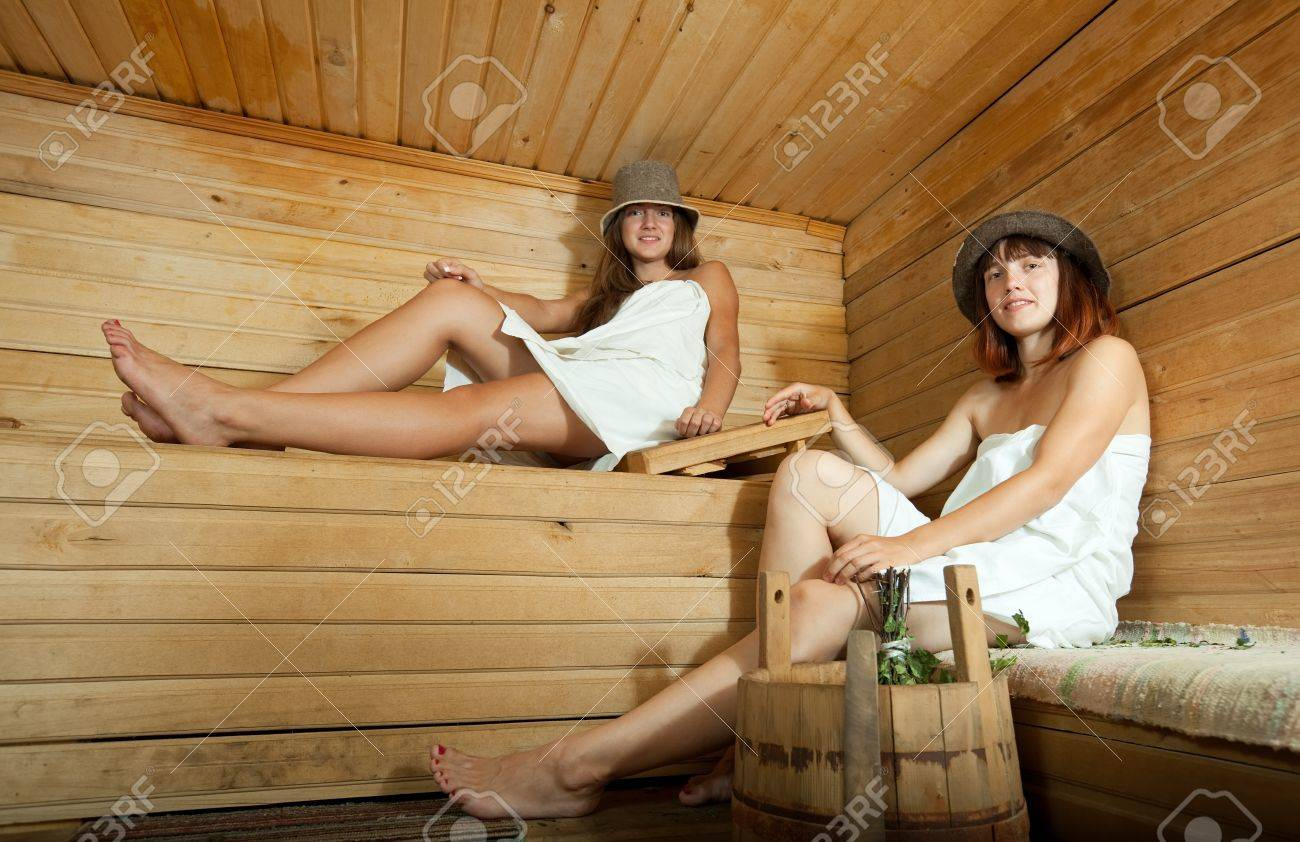 Two young women taking steam at sauna Stock Photo - 10533674