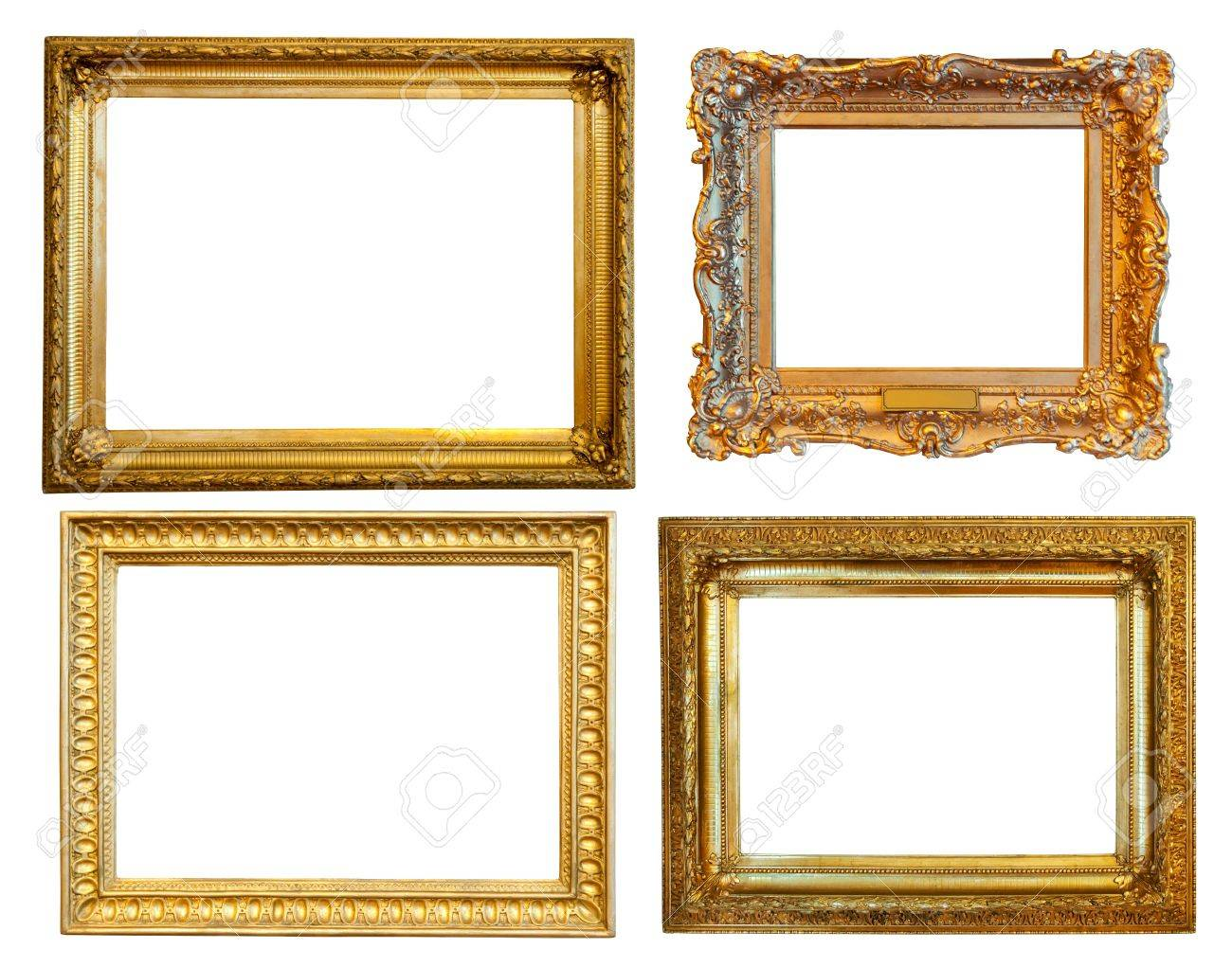 a19125ed55f 4 Gold Frames Isolated Over White Background With Clipping Path