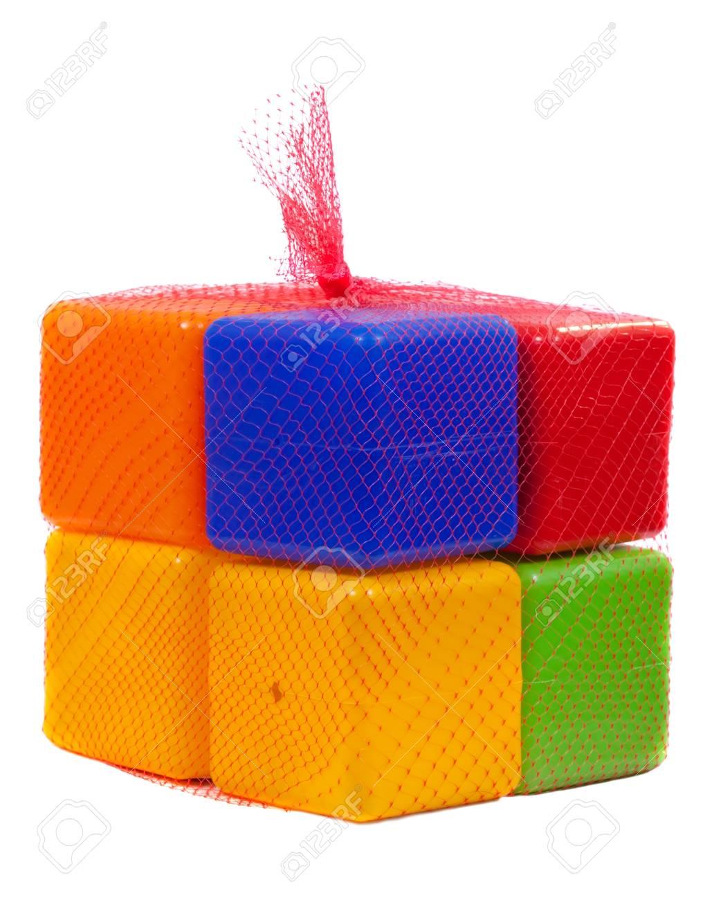 Packed plastic toy blocks on white background Stock Photo - 10884930