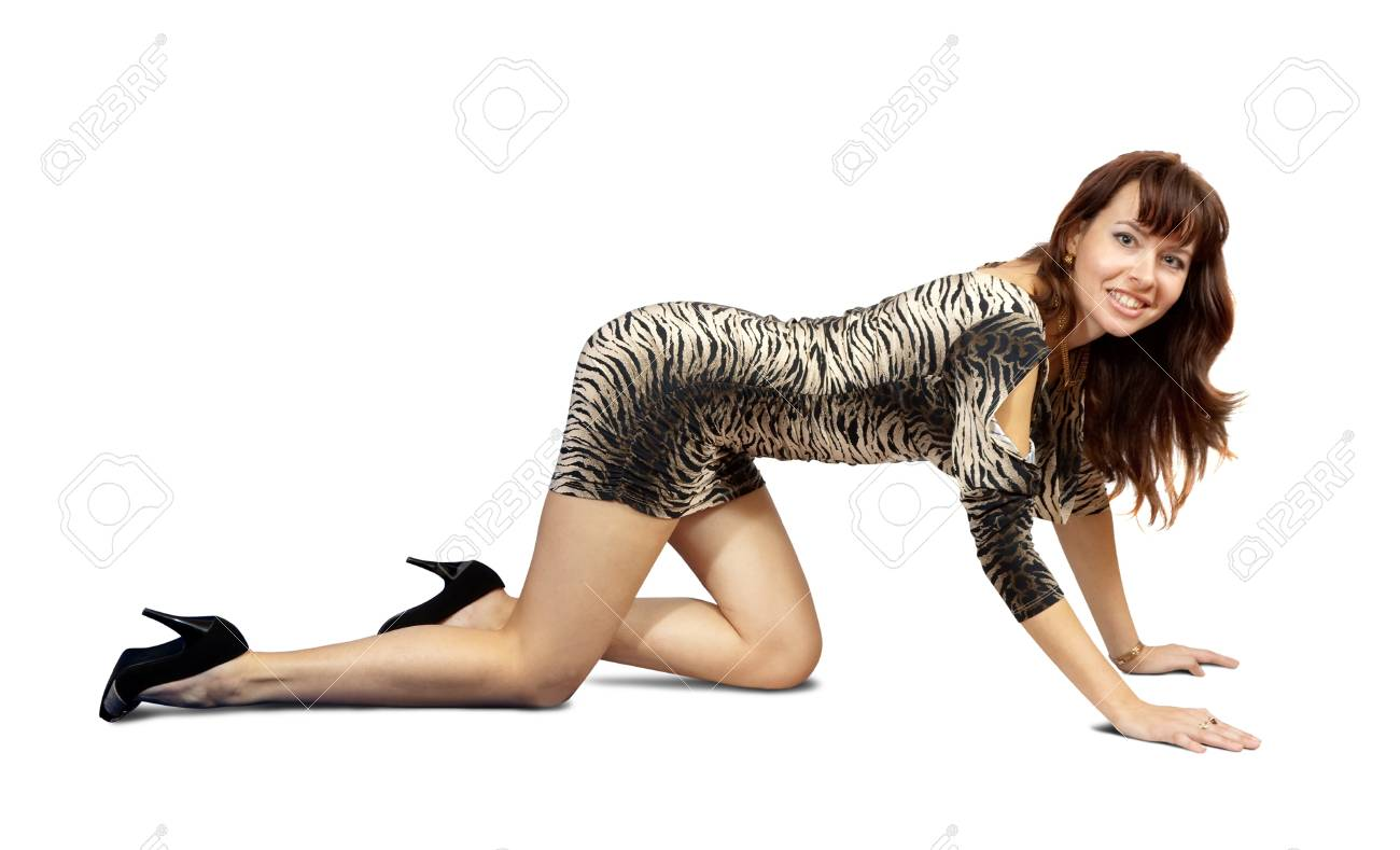 Sexy girl posing in dress. Isolated over white background Stock Photo - 10885343