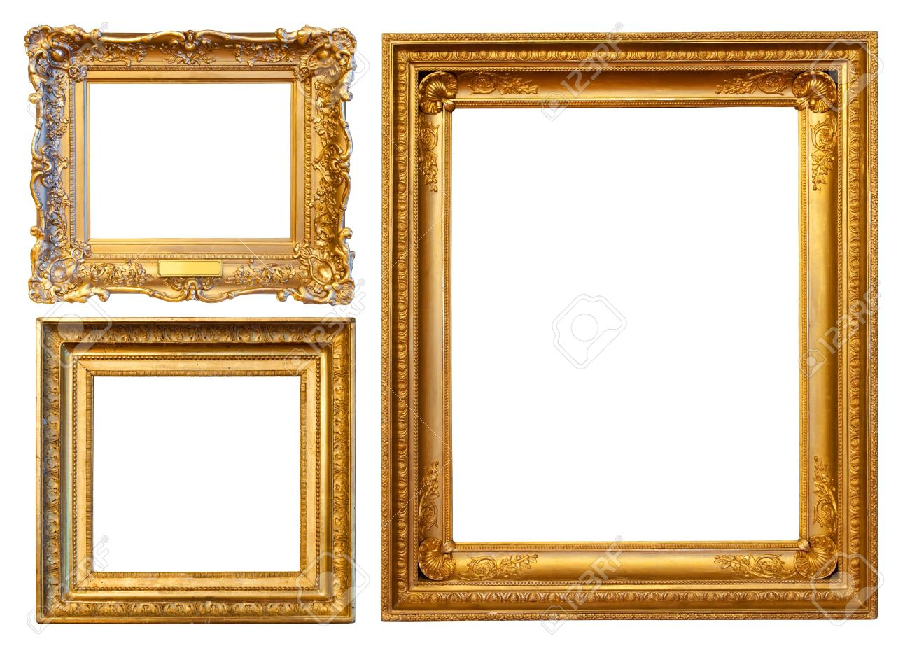 3 Gold Frames Isolated Over White Background Stock Photo Picture