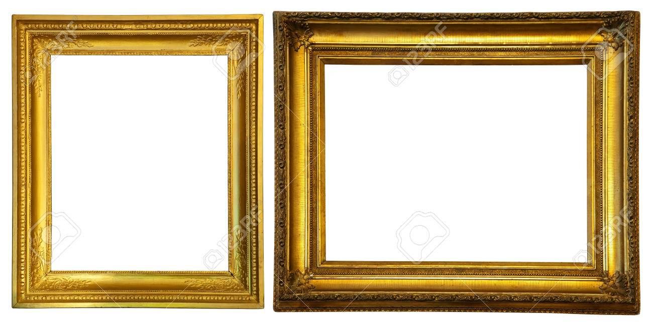 5c070c7dc7a Two Gold Frames Isolated Over White Background Stock Photo Picture