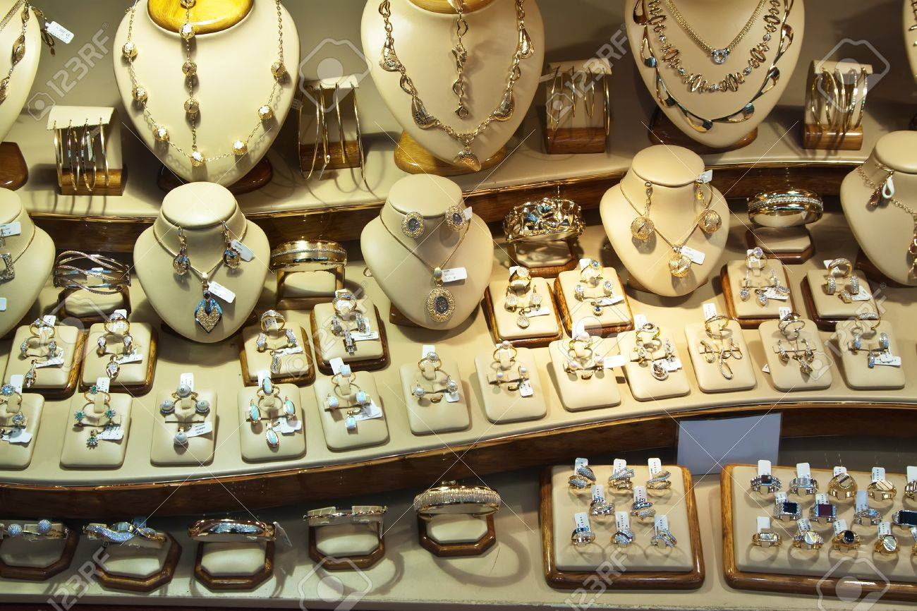counter with variety jewelry in store window Stock Photo - 11652694