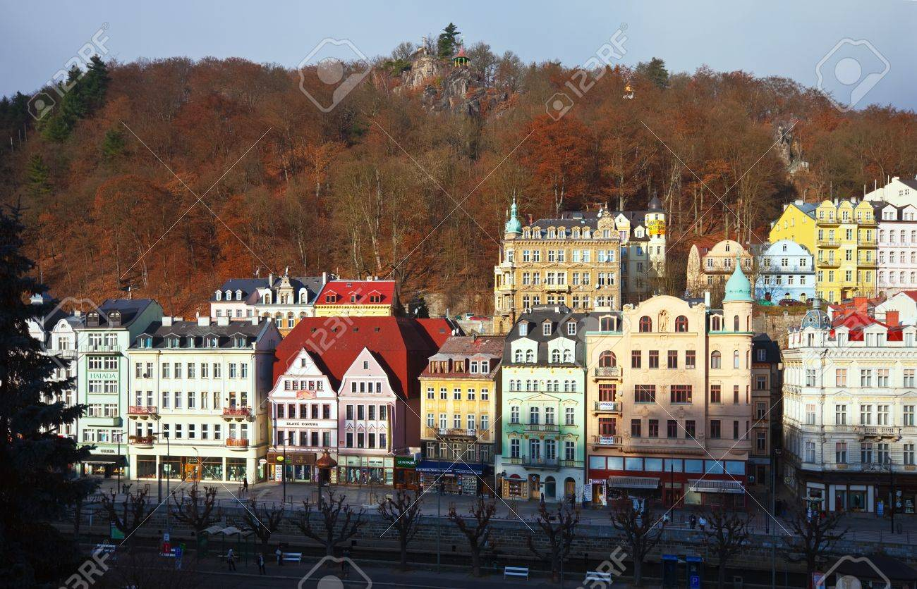 KARLOVY VARY, CZECHIA - NOVEMBER 25:  View of Karlovy Vary on November 25, 2011 in Bohemia, Czechia.Town is historically famous for its hot springs (13 main springs, about many smaller springs, and the warm-water Tepla River) Stock Photo - 11925345