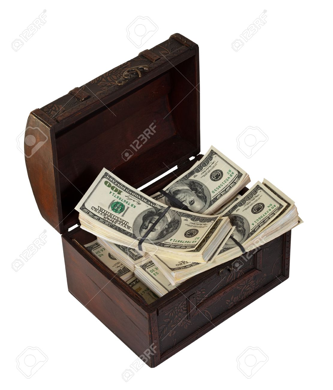Many bundles of US dollars banknotes in treasure chest. Isolated on white background Stock Photo - 12435031