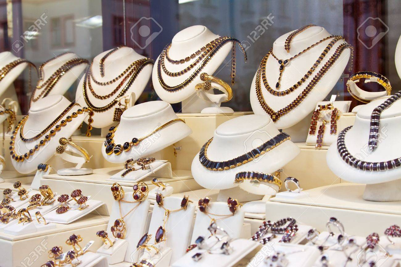 counter with garnet jewelry in store window Stock Photo - 12616628
