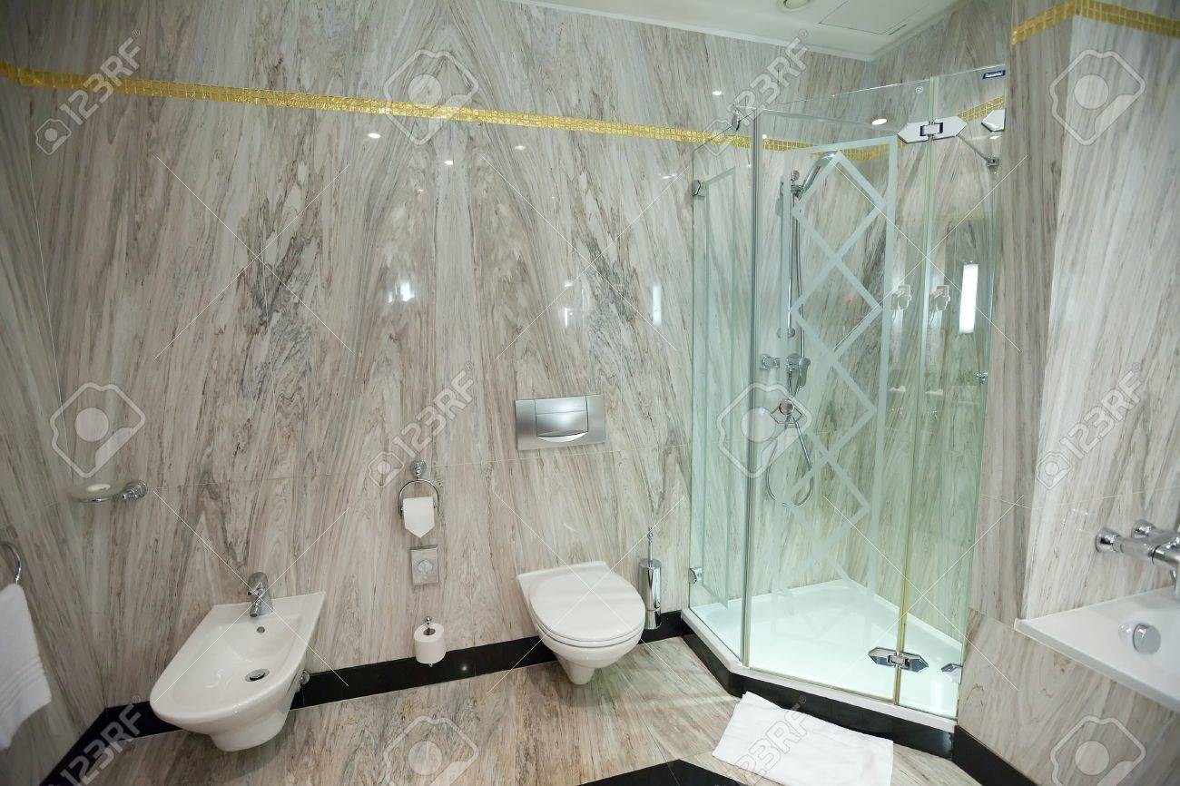 Interior Of Bathroom With Corner Shower Stock Photo, Picture And ...
