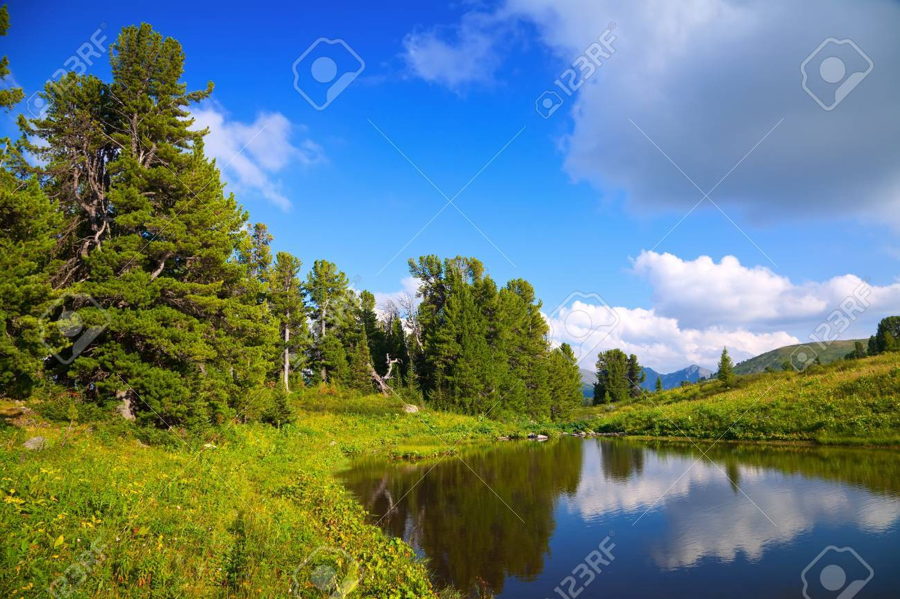 horizontal landscape with mountains lake.   Altai, Suberia Stock Photo - 12791355