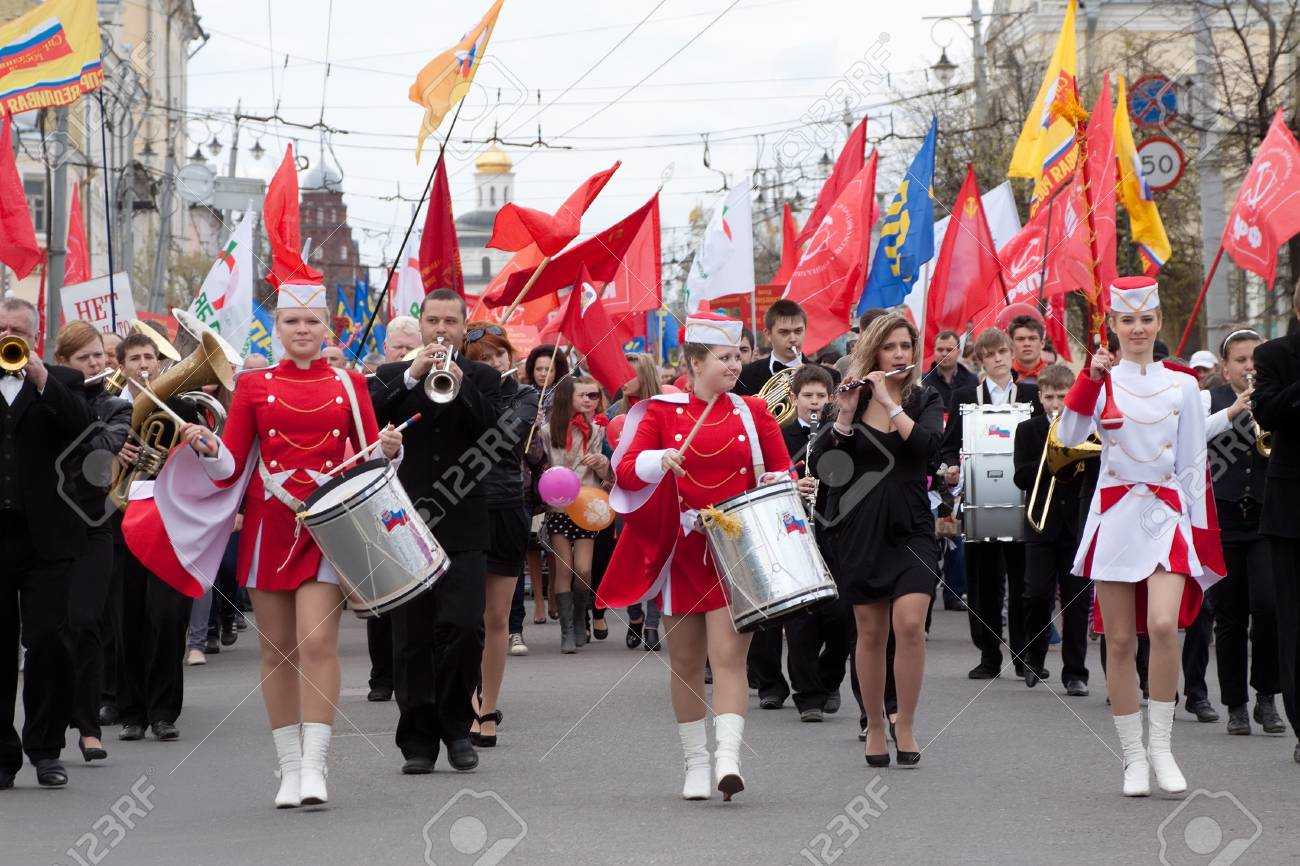 VLADIMIR, RUSSIA - MAY 1: Citizens are participating in the march of International Workers' Day event May 1, 2012 in Vladimir, Russia.Workers and opposition group walks in main street Stock Photo - 13669077