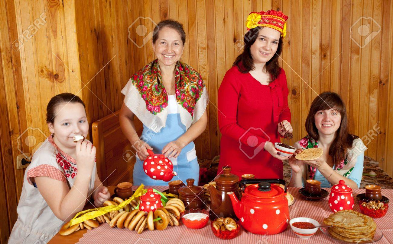 women drinking tea russian traditional snack stock photo stock photo women drinking tea russian traditional snack