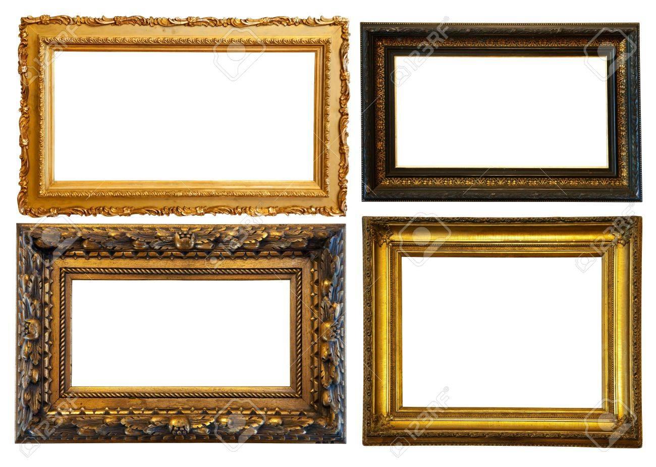 Set Of Few Horizontally Gilded Frames. Isolated Over White ...