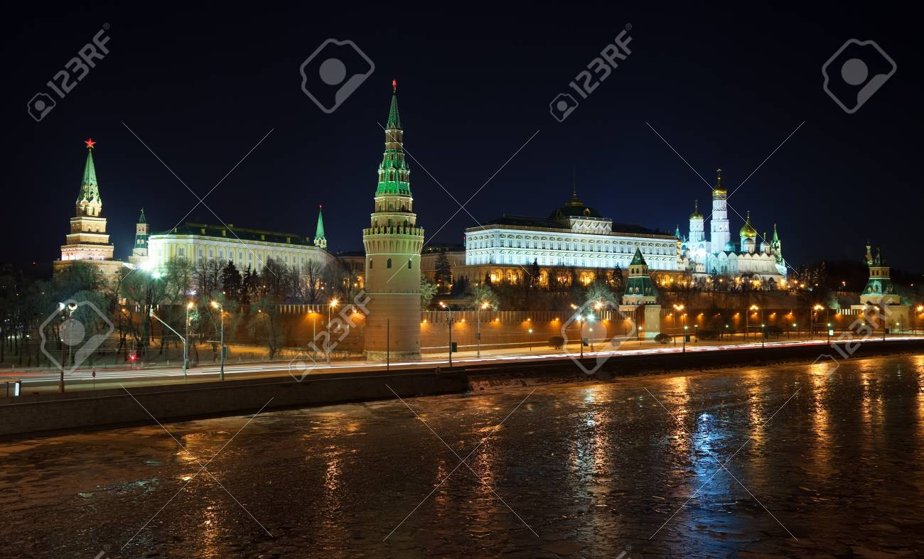 Kind to the Moscow Kremlin  and   Moskva River in winter night. Russia Stock Photo - 14368367