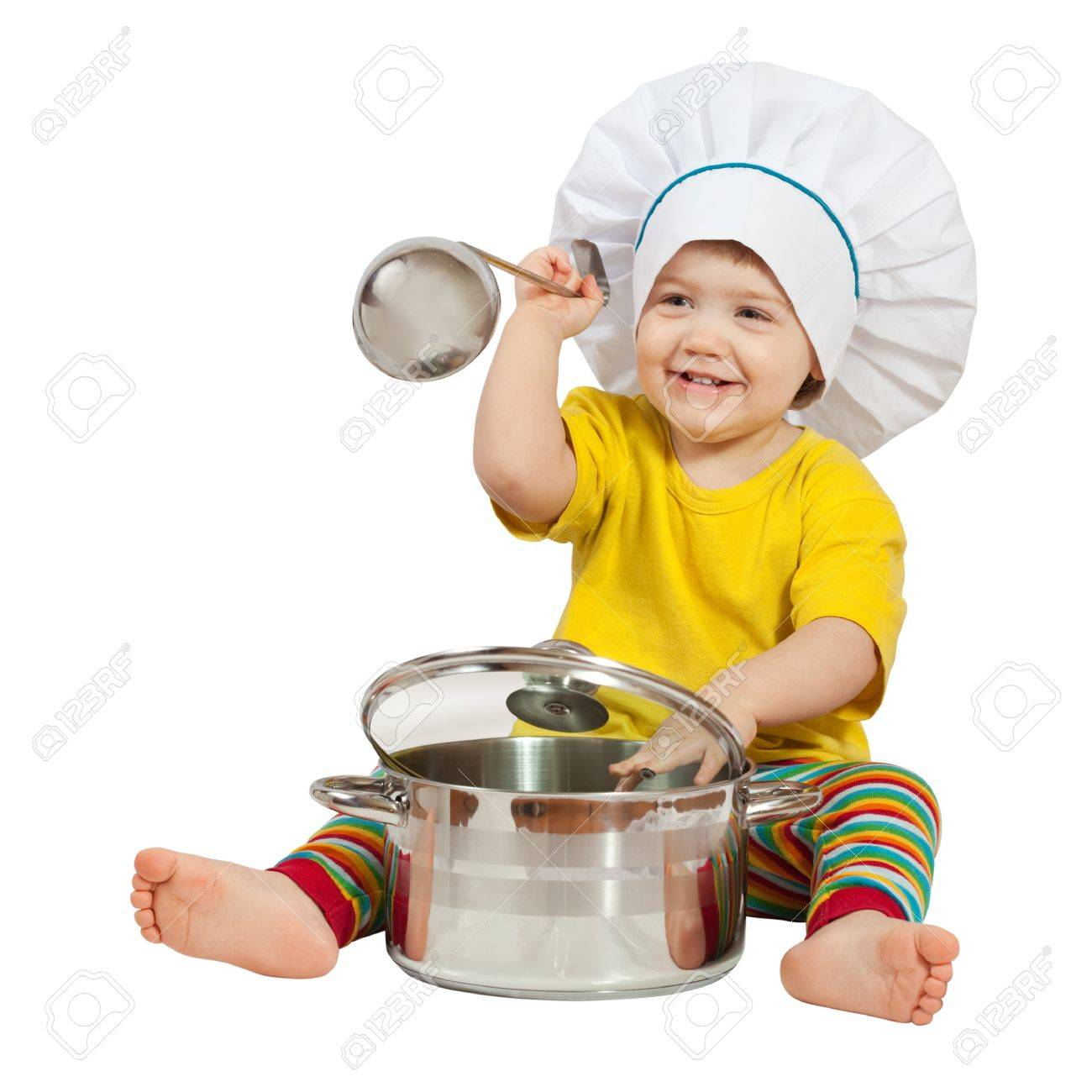 Baby cook in toque with  pan. Isolated over white background Stock Photo - 14471437
