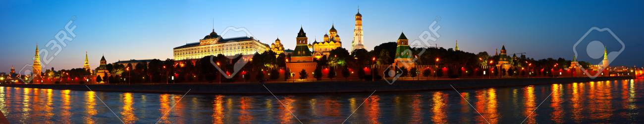 Panorama of Moscow Kremlin in summer night. Russia Stock Photo - 15087505