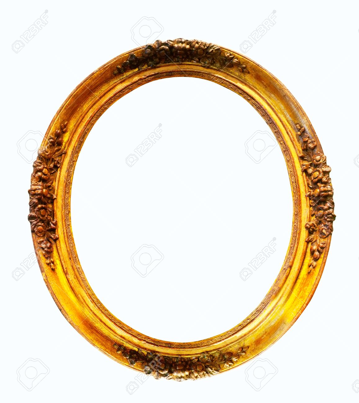 stock photo oval gilded frame isolated over white background with clipping path