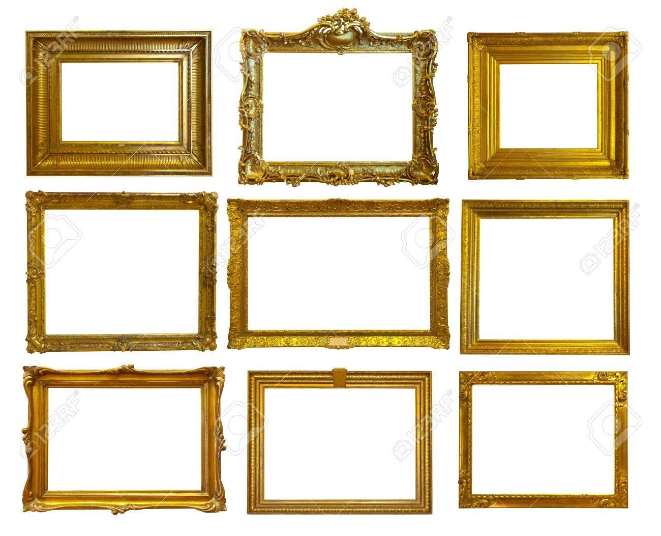 Set Von 9 Gold Bilderrahmen. Isolierte über Weißem Hintergrund ...