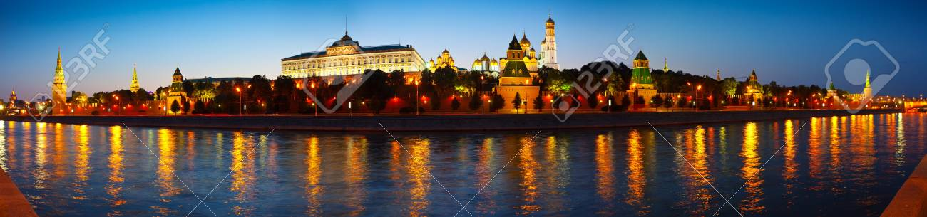 Panorama of Moscow Kremlin in summer night. Russia Stock Photo - 16743136