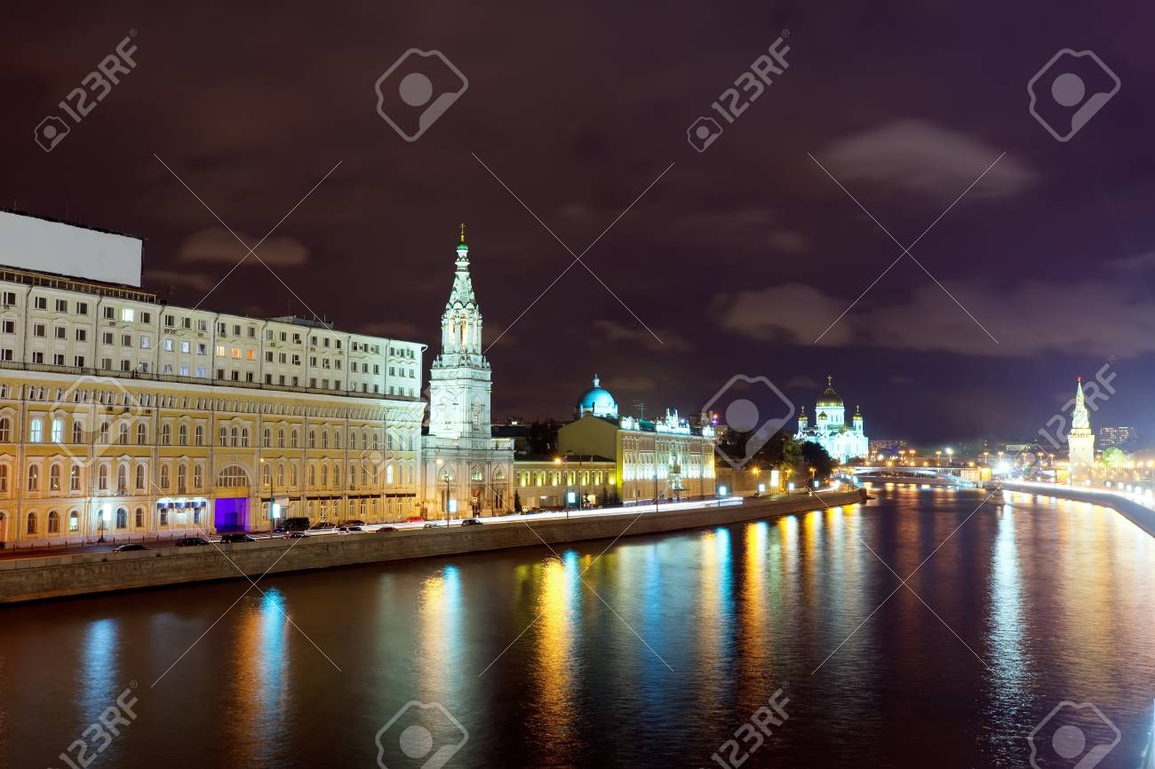 Kind to the Moscow Kremlin  and   Moskva River in night. Russia Stock Photo - 17066955