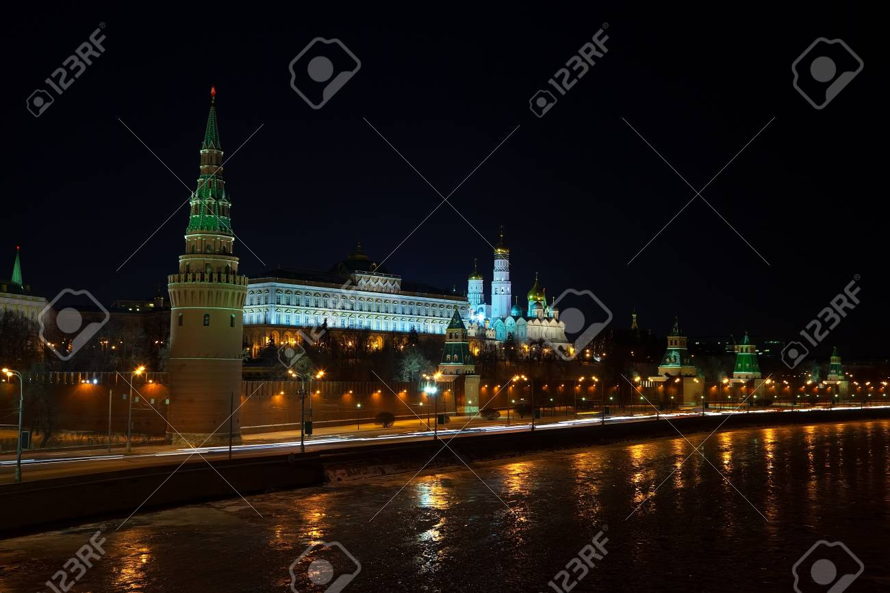 Kind to the Moscow Kremlin  and   Moskva River in winter night. Russia Stock Photo - 17434460