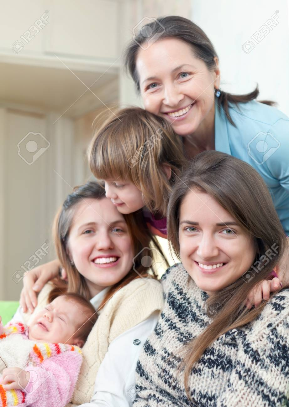 Happy grandmother with her daughters and granddaughters Stock Photo - 17887595