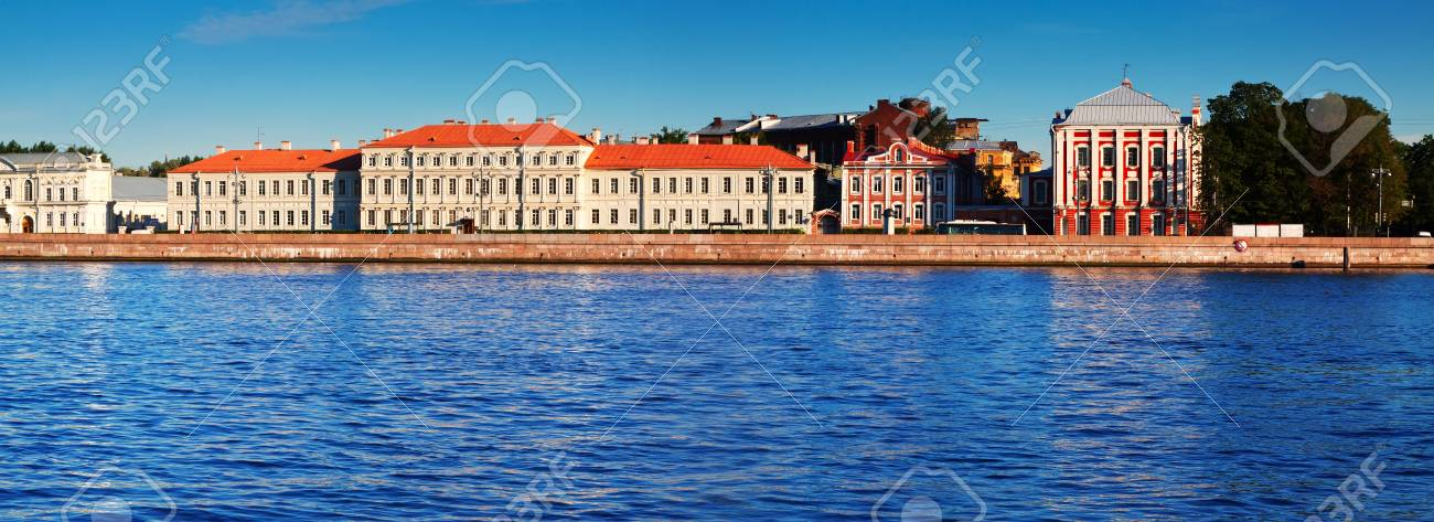 view of St  Petersburg  Vasilyevsky Island in summer day Stock Photo - 19032855