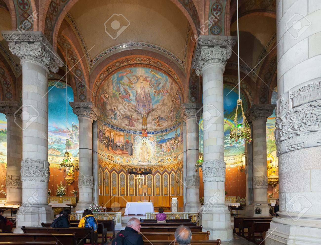 BARCELONA, SPAIN - MAY 18  Interior of Church of the Sacred Heart of Jesus in May 18, 2013 in Barcelona, Spain  Сonstruction of temple dedicated to the Sacred Heart, lasted from 1902 to 1961 Stock Photo - 21242649
