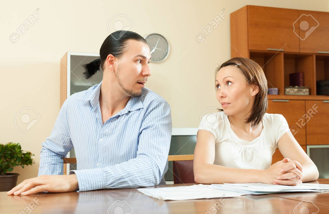 husband and wife having a financial problems about documents Stock Photo - 22449971