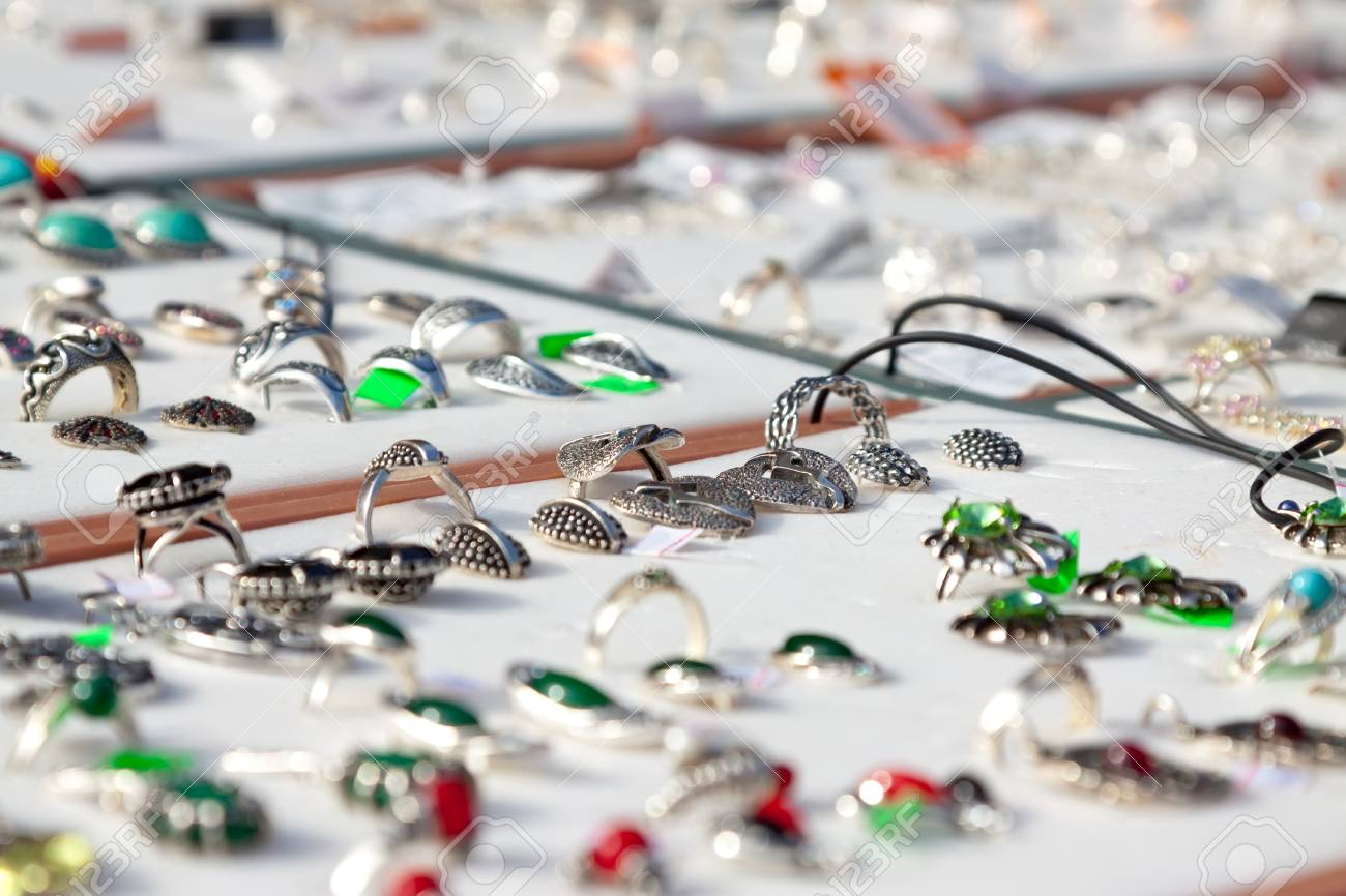 counter with variety jewelry at store Stock Photo - 22700197