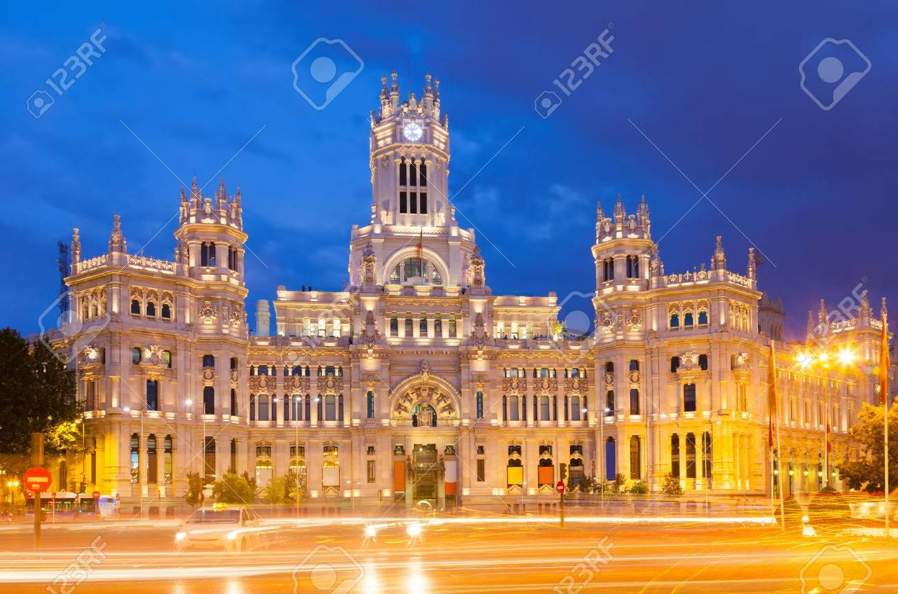 View Of Palacio De Cibeles In Summer Evening Madrid Spain