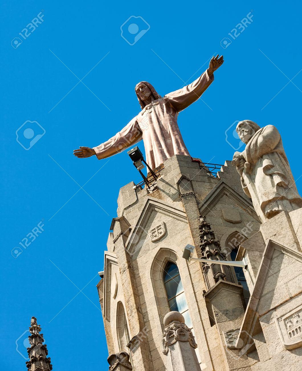 Sculpture of Jesus on top of Temple of Sagrat Cor at Tibidabo in  Barcelona, Spain Stock Photo - 23178109