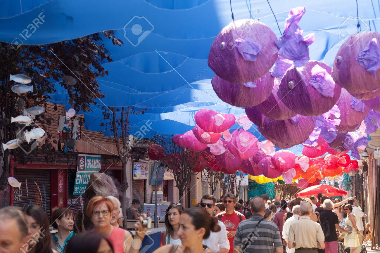 Decorations In Spain Barcelona Spain August 15 Gracia Festival Decorations In