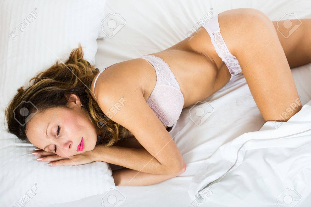 Beauty Woman Sleeping In Underwear On White Pillow Stock Photo, Picture And  Royalty Free Image. Image 34577708.