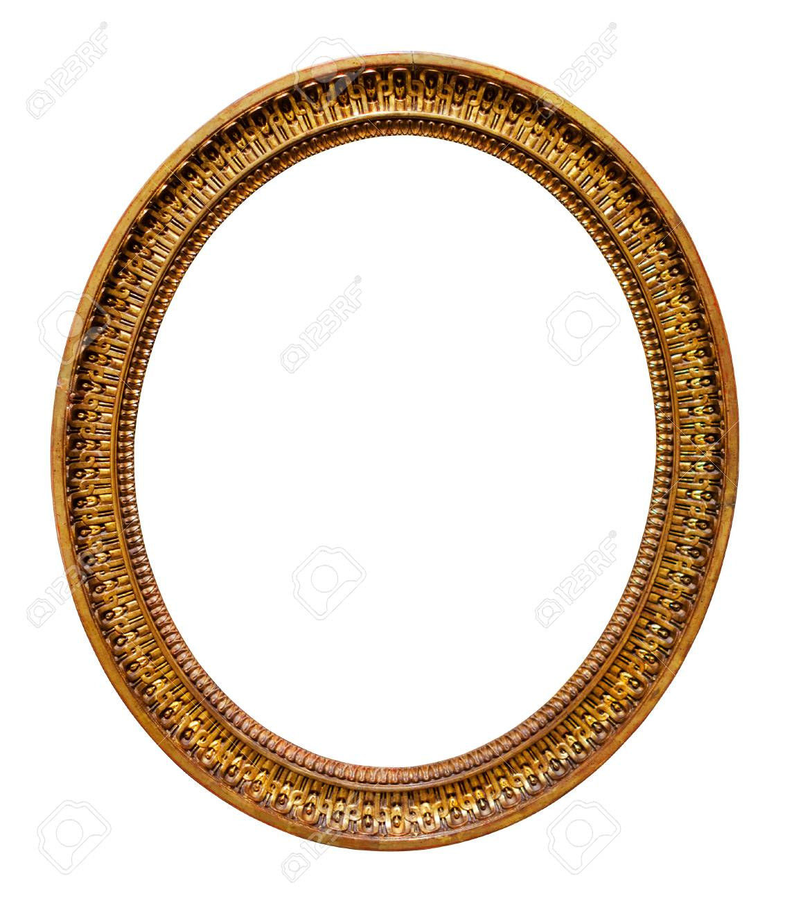 Oval Picture Gilded Frame. Isolated On White Stock Photo, Picture ...