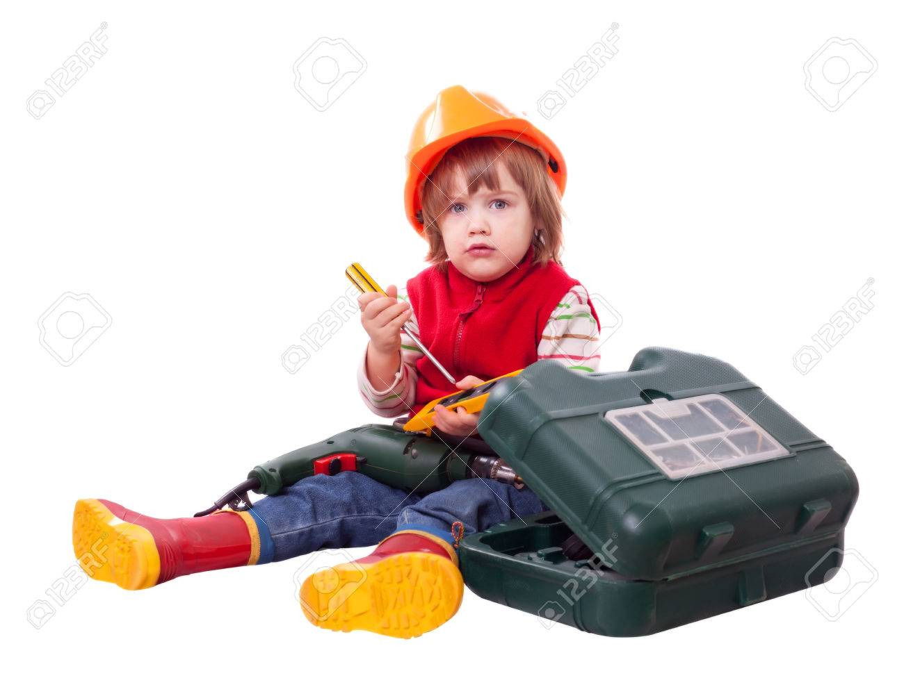 70d378cd523 serious baby builder in hardhat with working tools. Isolated over white  Stock Photo - 36292274