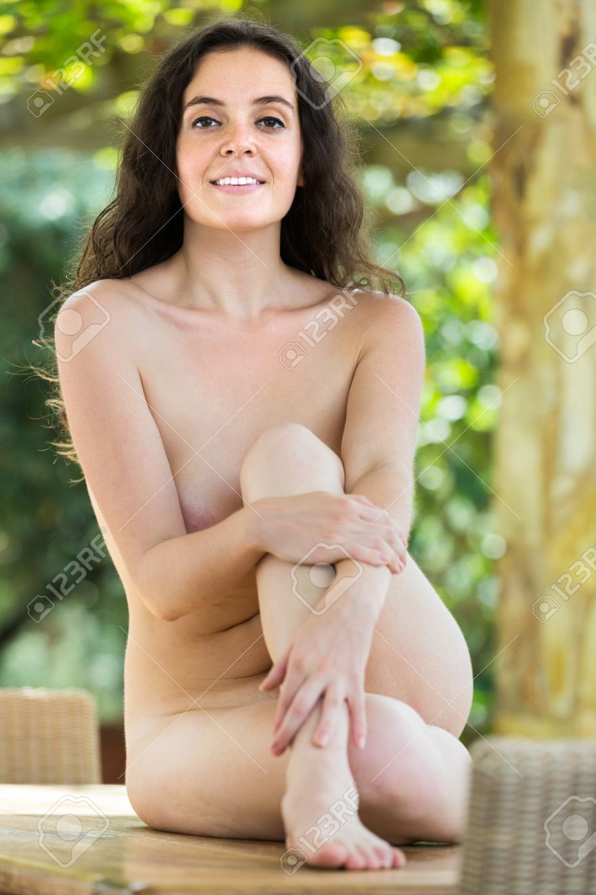 outdoor nude luyoung Stock Photo - Young attractive nude woman sitting outdoor