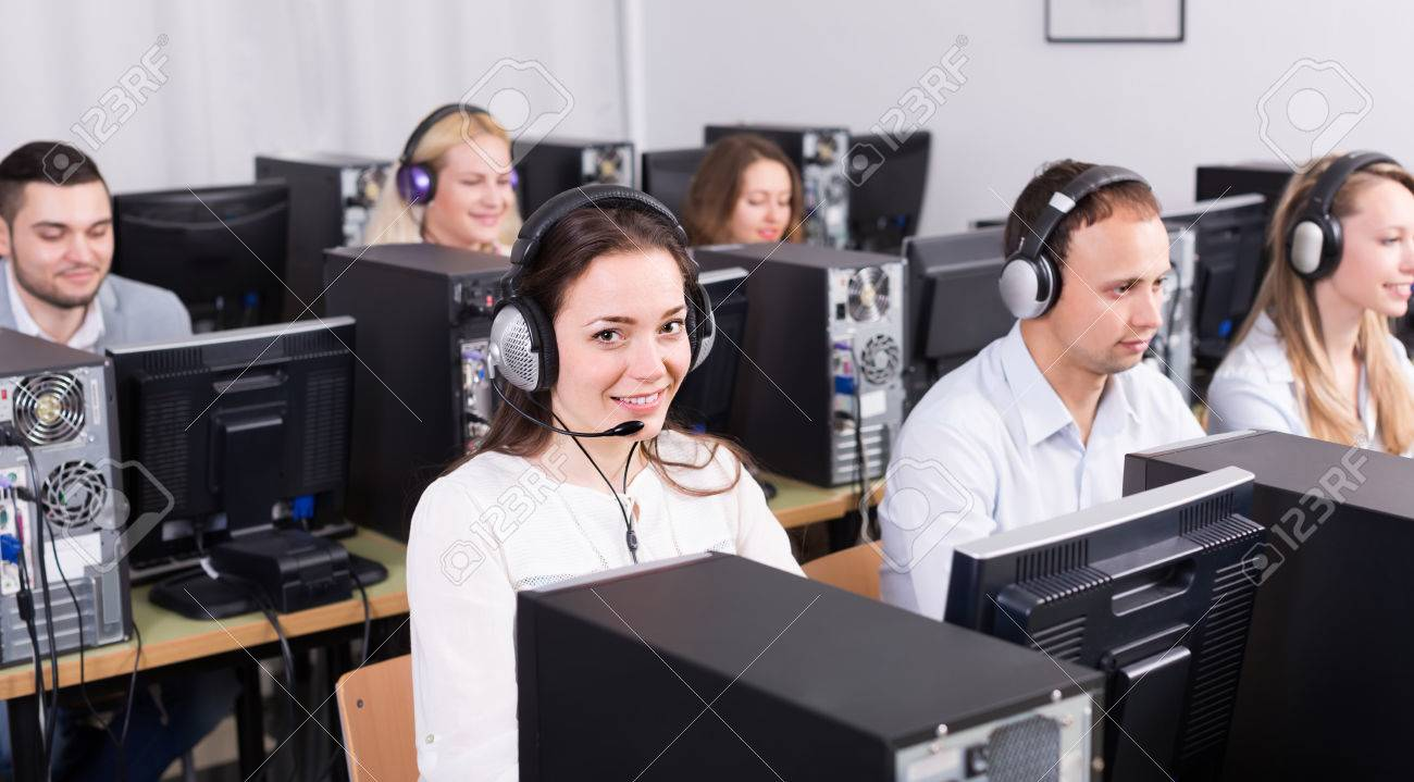 Casual Technical Support Team Working At Call Center Office ...