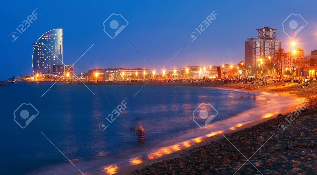 View of Barceloneta Beach in summer evening in Barcelona Stock Photo - 44097828