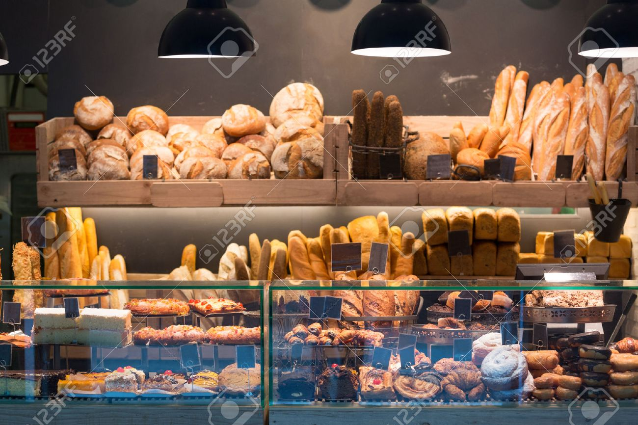 Modern bakery with assortment of bread, cakes and buns Stock Photo - 44755642